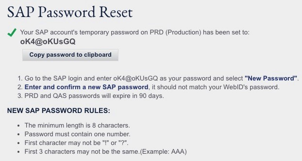 SAP Password Reset screenshot