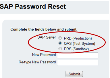 SAP Password Reset