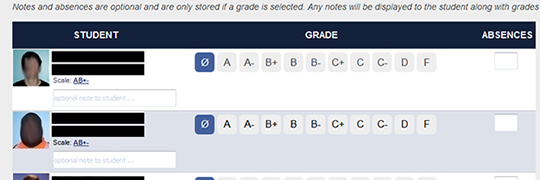 Midterm Grade Browser Layout