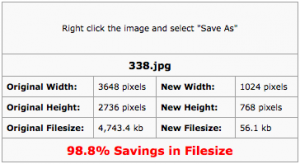Optimization Results showing reduced image size and dimensions