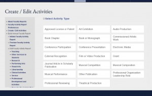 The new activity type layout for Create/Editing faculty activities.