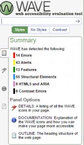 Screenshot from WAVE toolbar