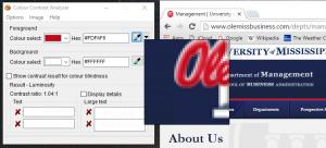 Screenshot showing sampled portion of UM website being tested for color