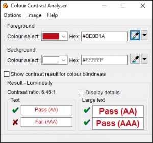 Screenshot showing Colour Contrast Analyser
