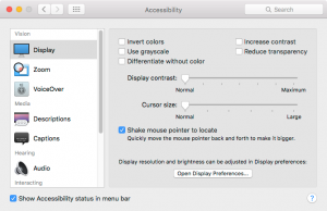 apple OS X Accessibility menu
