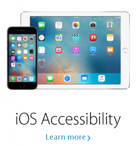 Apple iOS Accessibility with an iphone and ipad shown