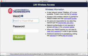 A screen-capture of the OleMiss wifi authentication window.