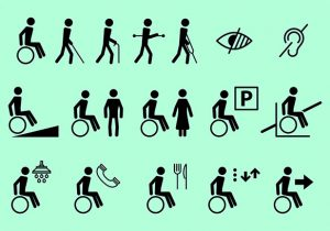 Icons representing differently able people.
