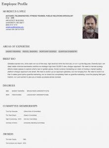 sample employee profile